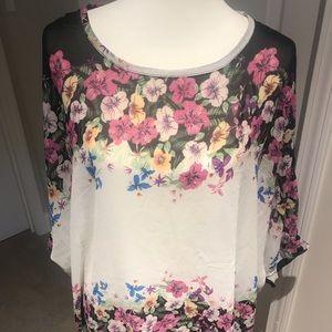 Tops - Sheer, chiffon floral top